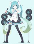00s 1girl :o aqua_eyes aqua_hair bangs bare_shoulders black_footwear black_legwear black_skirt blue_background blush boots bow bowtie detached_sleeves eyebrows_visible_through_hair full_body gradient_hair green_hair hair_between_eyes hair_ribbon hatsune_miku head_tilt headset heart holding holding_microphone long_hair long_sleeves looking_at_viewer matching_hair/eyes microphone multicolored_hair open_mouth parted_lips pleated_skirt ribbon skirt solo speaker standing tantan_men_(dragon) thigh-highs thigh_boots twintails very_long_hair vocaloid wide_sleeves