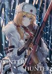 1girl ammunition_pouch belt blonde_hair blue_eyes bolt_action brown_sweater bullet closed_mouth coat echj english fur-trimmed_coat fur_hat fur_trim girls_frontline gloves gun hat highres jacket long_hair mosin-nagant mosin-nagant_(girls_frontline) necktie pouch red_star ribbed_sweater rifle scope sniper_rifle snow snowing solo sweater ushanka weapon white_hat white_jacket