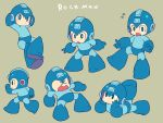 android arms_behind_head blue_eyes blue_gloves blush capcom character_name chibi gloves helmet looking_to_the_side lying miyata_(lhr) multiple_persona on_stomach open_mouth rockman rockman_(character) rockman_(classic) simple_background walking