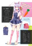 1girl alternate_costume animal_ears apron arm_at_side bangs blue_apron blush carrot carrot_print character_profile closed_mouth contrapposto eyebrows_visible_through_hair food_print full_body hair_between_eyes hand_up heart highres holding holding_wand legs_apart long_hair looking_at_viewer pink_hair pink_shirt pink_skirt print_legwear rabbit_ears red_eyes reisen_udongein_inaba shiny shiny_hair shiny_skin shirt short_sleeves skindentation skirt slippers smile standing straight_hair tetsurou_(fe+) text_focus thigh-highs thighs touhou translation_request v-shaped_eyebrows very_long_hair wand white_footwear