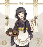 1girl apron bangs black_hair black_kimono blunt_bangs braid buzz cowboy_shot cup eyebrows_visible_through_hair food frilled_apron frills hair_ribbon hand_up head_tilt holding holding_tray japanese_clothes kimono long_hair long_sleeves looking_at_viewer obi original ribbon sash solo standing striped striped_kimono tassel teapot tray twin_braids wa_maid waist_apron white_apron white_ribbon wide_sleeves yellow_eyes