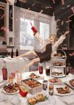 alcohol arms_up barefoot blonde_hair bottle collar firing food french_fries gun highres interior jacket jumping lm7_(op-center) midair money motion_blur original outstretched_arms pizza red_eyes spread_arms table tablecloth tiered_tray twintails weapon white_jacket wine_bottle