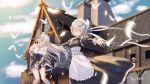 3girls 5555_96 apron artist_name azur_lane bangs belfast_(azur_lane) bird blue_eyes blue_sky blurry blurry_background blush bow braid breasts chains chimney cleavage closed_eyes clouds collar collarbone detached_sleeves dress edinburgh_(azur_lane) elbow_gloves eyebrows_visible_through_hair feathers floating_hair french_braid frills glasses gloves hair_bow half-closed_eyes highres house kneehighs large_breasts long_hair looking_at_viewer maid maid_headdress multiple_girls open_mouth outstretched_arms round_eyewear sheffield_(azur_lane) sidelocks silver_hair skirt_hold sky smile tearing_up thighs white_gloves wind wind_lift