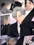 2boys artist_name barefoot black_gloves black_hair blazer blue_eyes blush brown_eyes comic covering_face foot_kiss formal gearous gloves jacket katsuki_yuuri male_focus multiple_boys necktie silent_comic silver_hair suit viktor_nikiforov yaoi yuri!!!_on_ice