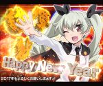 1girl 2017 ;d anchovy anzio_school_uniform bangs black_cape black_neckwear black_ribbon blush breasts cape collared_shirt drill_hair eyebrows eyebrows_visible_through_hair eyes_visible_through_hair fang girls_und_panzer green_hair hair_ribbon happy_new_year letterboxed long_hair long_sleeves necktie new_year one_eye_closed open_mouth outstretched_arm palms red_eyes ribbon school_uniform shirt small_breasts smile solo tom_(drpow) tongue twin_drills twintails upper_body v-shaped_eyebrows white_shirt