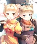 2girls absurdres bangs blonde_hair commentary_request elbow_gloves eyebrows_visible_through_hair fangs fingerless_gloves gloves highres japanese_marten_(kemono_friends) kanzakietc kemono_friends light_brown_hair locked_arms marten_ears marten_tail multiple_girls neck_ribbon neckerchief open_mouth pleated_skirt puffy_short_sleeves puffy_sleeves ribbon sable_(kemono_friends) sable_ears sable_tail scarf short_hair short_sleeves skirt smile upper_body