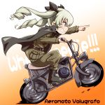 1girl anchovy anzio_military_uniform bangs belt black_cape black_footwear black_ribbon boots brown_belt cape drill_hair driving eyebrows eyebrows_visible_through_hair from_side full_body girls_und_panzer gradient gradient_background green_hair green_pants green_shirt grin ground_vehicle hair_between_eyes hair_ribbon highres index_finger_raised leaning leaning_forward long_hair long_sleeves military military_uniform motor_vehicle motorcycle multicolored multicolored_background orange_background pants pocket red_eyes ribbon shirt sideways_mouth sitting smile solo strap tom_(drpow) twin_drills uniform v-shaped_eyebrows wheelie white_background