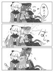 2boys 2girls ahoge black_scarf bow cape comic dripping fate/grand_order fate_(series) genderswap genderswap_(ftm) greyscale hair_bow hat heart hug japanese_clothes kimono koha-ace long_hair military military_hat military_uniform monochrome multiple_boys multiple_girls nm_0923 oda_nobukatsu_(fate/grand_order) oda_nobunaga_(fate) okita_souji_(fate) peaked_cap scarf short_hair splashing uniform water wet wet_clothes