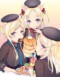 :> animal_ears beret blonde_hair blue_neckwear breasts butter doughnut eating engawa343 eyebrows_visible_through_hair food food_in_mouth food_on_face gradient gradient_background hair_bun hair_ribbon hat ice_cream ice_cream_cone long_hair looking_at_viewer looking_back loose_necktie medium_breasts necktie pancake pig_ears plate pocky red_neckwear red_ribbon ribbon sidelocks sinoalice smile sparkle syrup three_little_pigs_(sinoalice) tunic twitter_username upper_body violet_eyes
