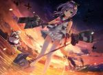 2girls aircraft azur_lane belfast_(azur_lane) blue_eyes clouds crown dawn dutch_angle javelin_(azur_lane) long_hair military military_vehicle multiple_girls panties polearm purple_hair remodel_(azur_lane) rigging ryoumoto_ken ship silver_hair sinking smoke spear thigh-highs torpedo_tubes underwear warship watercraft weapon