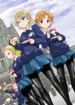 4girls assam bangs black_bow black_legwear black_neckwear blonde_hair blue_eyes blue_skirt blue_sweater blurry blurry_background blush bow braid building closed_mouth clouds cloudy_sky commentary_request cup darjeeling dress_shirt dropping dutch_angle emblem falling girls_und_panzer hair_bow hair_pulled_back hair_ribbon light_smile long_hair long_sleeves looking_at_viewer miniskirt muichimon multiple_girls necktie open_mouth orange_hair orange_pekoe pantyhose parted_bangs pleated_skirt redhead ribbon rosehip saucer school_uniform shirt short_hair skirt sky spilling st._gloriana's_(emblem) st._gloriana's_school_uniform standing sweatdrop sweater tea teacup tied_hair twin_braids v-neck v-shaped_eyebrows white_shirt wing_collar