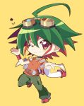 1boy ahoge chibi goggles goggles_on_head green_hair green_pants multicolored_hair one_eye_closed pants pointing pointing_at_viewer red_eyes red_footwear redhead rento_(rukeai) sakaki_yuuya shoes short_sleeves smile solo spiky_hair star yellow_background yu-gi-oh! yuu-gi-ou_arc-v