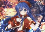 1girl blue_eyes blue_hair book fire_emblem fire_emblem:_fuuin_no_tsurugi hat holding holding_book kero_sweet lilina long_hair looking_at_viewer solo