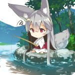 1girl absurdly_long_hair animal_ears bangs barefoot chibi closed_mouth day eyebrows_visible_through_hair fishing_line fishing_rod fox_ears fox_girl fox_tail hair_between_eyes holding holding_fishing_rod japanese_clothes kimono long_hair obi original outdoors red_eyes river rock sash silver_hair sitting solo squiggle tail tree very_long_hair water white_kimono wide_sleeves yuuji_(yukimimi)