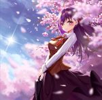 1girl augu_(523764197) blue_sky blurry blurry_background blurry_foreground blush breasts brown_vest cherry_blossoms collared_shirt day depth_of_field fate/stay_night fate_(series) flat_chest from_side hair_ribbon highres holding homurahara_academy_uniform lens_flare lips long_hair long_skirt long_sleeves looking_at_viewer looking_to_the_side matou_sakura medium_breasts neck_ribbon outdoors purple_hair purple_skirt red_neckwear red_ribbon ribbon school_briefcase shiny shiny_hair shirt skirt sky solo straight_hair sun sunlight two-handed vest violet_eyes white_shirt wing_collar