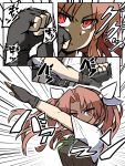 1girl arm_up belt black_gloves black_vest breasts brown_hair collared_shirt commentary_request fingerless_gloves futomashio gloves green_ribbon hair_ribbon highres kagerou_(kantai_collection) kamen_rider kamen_rider_black_(series) kantai_collection long_hair neck_ribbon pose remodel_(kantai_collection) ribbon shaded_face shirt short_sleeves twintails upper_body v-shaped_eyebrows vest white_ribbon white_shirt