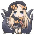 1girl :< abigail_williams_(fate/grand_order) alice_sakura_komainu arm_up bangs black_bow black_dress black_footwear black_hat bloomers blue_eyes blush bow bug butterfly chibi commentary_request dress fate/grand_order fate_(series) hair_bow hat insect light_brown_hair long_hair long_sleeves object_hug orange_bow parted_bangs parted_lips simple_background sleeves_past_fingers sleeves_past_wrists solo standing stuffed_animal stuffed_toy suction_cups teddy_bear tentacle triangle_mouth underwear very_long_hair white_background white_bloomers