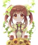 1girl bangs black_ribbon blush bouquet bow brown_eyes brown_hair center_frills clover eyebrows_visible_through_hair floral_print flower green_bow hair_bow hair_flower hair_ornament idolmaster idolmaster_cinderella_girls idolmaster_cinderella_girls_starlight_stage ivy looking_at_viewer miyuara neck_ribbon ogata_chieri plant ribbon sash sidelocks smile solo striped_neckwear sunflower twintails upper_body vines