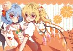 2girls :d alternate_costume bat_wings beni_kurage blonde_hair blue_hair blush cake_hair_ornament cake_hat collarbone commentary_request cowboy_shot crystal dress eyebrows_visible_through_hair fang fang_out fingernails flandre_scarlet food food_themed_hair_ornament fork fruit hair_between_eyes hair_ornament hair_ribbon hairclip hand_holding hand_up head_tilt highres holding holding_fork interlocked_fingers leaf leaning_back looking_at_viewer multiple_girls no_hat no_headwear open_mouth orange orange_dress orange_ribbon orange_slice puffy_short_sleeves puffy_sleeves red_eyes remilia_scarlet ribbon sailor_collar short_hair short_sleeves siblings side_ponytail sisters smile standing touhou white_background wings