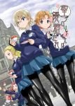 4girls assam bangs black_bow black_legwear black_neckwear blonde_hair blue_eyes blue_skirt blue_sweater blurry blurry_background blush bow braid building closed_mouth clouds cloudy_sky commentary_request cup darjeeling dress_shirt dropping dutch_angle emblem falling girls_und_panzer hair_bow hair_pulled_back hair_ribbon light_smile long_hair long_sleeves looking_at_viewer miniskirt muichimon multiple_girls necktie open_mouth orange_hair orange_pekoe pantyhose parted_bangs pleated_skirt redhead ribbon rosehip saucer school_uniform shirt short_hair skirt sky spilling st._gloriana's_(emblem) st._gloriana's_school_uniform standing sweatdrop sweater tea teacup tied_hair translation_request twin_braids v-neck v-shaped_eyebrows watermark white_shirt wing_collar