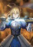 1girl ahoge armor armored_dress artoria_pendragon_(all) blonde_hair captain_an excalibur fate/grand_order fate/stay_night fate_(series) faulds gauntlets glowing glowing_sword glowing_weapon green_eyes highres holding holding_sheath holding_sword holding_weapon plackart saber sheath solo sword unsheathing weapon