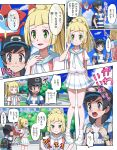 1boy 1girl backpack bag baseball_cap black_hair blonde_hair blush clouds comic gen_4_pokemon green_eyes hat lillie_(pokemon) long_hair open_mouth pokedex pokemoa pokemon pokemon_(game) pokemon_sm ponytail pout rotom rotom_dex shirt short_hair short_sleeves skirt sky striped striped_shirt translation_request tree white_shirt white_skirt you_(pokemon_sm) z-ring