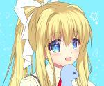 1girl air blonde_hair blue_background blue_eyes dinosaur hair_ribbon kamio_misuzu looking_at_viewer ponytail ribbon ringo_sui school_uniform solo stuffed_animal stuffed_toy upper_body white_ribbon