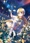 1girl bangs blonde_hair blue_eyes bracelet bug butterfly capelet closed_mouth commentary_request daisy earrings flower gem gloves hand_up hat heart heart_earrings highres insect jewelry legs_crossed lilithbloody long_hair low_twintails no_shoes original pointy_ears sitting sky smile solo star_(sky) starry_sky thigh-highs twintails white_capelet white_gloves white_hat white_legwear