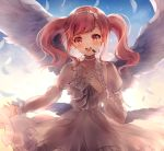 1girl :d bang_dream! bangs blush choker collarbone dress feathered_wings feathers frills hairband headset highres long_sleeves looking_at_viewer maruyama_aya multiple_wings neck_ribbon nogi_momoko open_mouth pink_eyes pink_hair ribbon round_teeth sidelocks smile solo teeth tied_sleeves twintails upper_teeth white_choker white_dress white_feathers white_ribbon white_wings wings