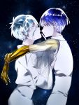 2others alternate_costume androgynous antarcticite arms_around_neck blue_eyes blue_hair colored_eyelashes face-to-face finger_to_mouth golden_arms grey_eyes hair_between_eyes hand_on_another's_chest highres houseki_no_kuni looking_at_another phosphophyllite phosphophyllite_(ll) see-through short_hair silver_hair sky smile spoilers star_(sky) starry_sky white_eyes white_hair