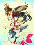 1girl bird black_hair bow brown_eyes closed_mouth commentary_request eagle el-zheng fingerless_gloves floating_hair gloves hair_bow hairband highres holding holding_knife knife long_hair nakoruru pants platform_footwear red_bow red_footwear reverse_grip samurai_spirits shirt shoes short_sleeves smile solo white_pants white_shirt wolf