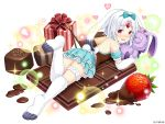 1girl :d animal_ears aqua_bow aqua_dress aqua_hairband backless_outfit bangs blush bow box bunny_girl checkerboard_cookie chocolate_bar company_name cookie crystal dress eyebrows_visible_through_hair food forehead_jewel fruit full_body fur gem gift gift_box hair_bow hairband heart leg_up looking_at_viewer looking_back lying medium_hair melting monmusume-harem namaru_(summer_dandy) nose_blush off-shoulder_dress off_shoulder official_art on_stomach open_mouth oversized_object parted_bangs paws pocky rabbit_ears red_eyes ruby_(stone) rurie_(monmusume-harem) short_dress smile solo sparkle strawberry stuffed_animal stuffed_bunny stuffed_toy tareme thigh_strap white_background white_hair