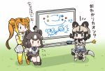 3girls african_wild_dog_(kemono_friends) animal_ears bear_ears bow bowtie brown_bear_(kemono_friends) chibi circlet commentary_request dog_ears dog_tail elbow_gloves gloves golden_snub-nosed_monkey_(kemono_friends) kemono_friends kemono_friends_pavilion leotard long_hair long_sleeves marker monkey_ears monkey_tail multicolored_hair multiple_girls open_mouth ponytail shirt short_hair short_sleeves shorts skirt tail tanaka_kusao thigh-highs translation_request whiteboard
