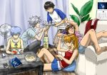 2boys 3girls :3 ayanami_rei barefoot black_hair blue_eyes blue_hair blue_shorts brown_hair calendar_(object) cellphone chips commentary_request couch curtains fan food glass glasses hand_on_another's_head ice ice_cube ikari_shinji iphone lying makinami_mari_illustrious multiple_boys multiple_girls nagisa_kaworu neon_genesis_evangelion on_back phone plant potato_chips profile raglan_sleeves reading red-framed_eyewear semi-rimless_eyewear shirt short_shorts short_sleeves shorts silver_hair sleeveless smartphone souryuu_asuka_langley suimame t-shirt table tray two_side_up under-rim_eyewear