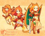 3girls bandage bandaged_arm bangs beanie beige_background belt breasts brown_gloves buckle character_name charizard charmander charmeleon child cleavage closed_mouth dav-19 evolution fiery_tail fighting_stance fire flat_chest gauntlets gen_1_pokemon gloves green_eyes hair_between_eyes happy hat holding holding_sword holding_weapon horn horns jumping long_hair long_sleeves looking_at_viewer midriff multiple_girls navel orange_hair parted_bangs personification poke_ball poke_ball_(generic) pokemon serious shoes short_sleeves shoulder_blades small_breasts spikes standing sword tail watermark weapon web_address