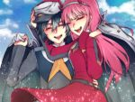 1boy 1girl black_hair closed_eyes coat commentary couple darling_in_the_franxx english_commentary hairband hand_on_another's_head hat hiro_(darling_in_the_franxx) holding_clothes horns long_hair military military_uniform necktie oni_horns open_clothes open_coat orange_neckwear peaked pink_hair short_hair uniform user_nprw3335 white_hairband zero_two_(darling_in_the_franxx)