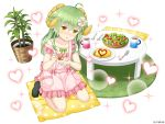 1girl :o ahoge animal_ears apron asatsuki_(monmusume-harem) bangs black_footwear blush bowl collarbone company_name cucumber cup eyebrows_visible_through_hair flower fork frilled_apron frills full_body green_hair green_ribbon hair_between_eyes hair_flower hair_ornament hand_up head_tilt heart holding holding_spoon horns jewelry ketchup long_hair looking_at_viewer monmusume-harem mug namaru_(summer_dandy) nose_blush official_art omelet pillow pink_apron plant plate pocket polka_dot potted_plant ribbon ring salad seiza sheep_ears sheep_girl sheep_horns shiny shiny_hair sidelocks simple_background sitting socks solo sparkle spoon suspenders suspenders_slip table tomato wedding_band white_background white_flower yellow_eyes