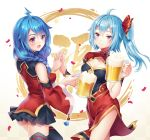 2girls :d ahoge alcohol beer bili_girl_22 bili_girl_33 bilibili_douga black_legwear black_skirt blue_hair blush braid breasts carminar cleavage_cutout cup detached_sleeves drinking_glass facial_mark forehead_mark hair_between_eyes hair_over_shoulder highres holding holding_drinking_glass looking_at_viewer medium_breasts multiple_girls open_mouth skirt smile standing thigh-highs twintails violet_eyes wide_sleeves
