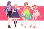 4girls :d alternate_costume artist_name backpack bag bandaid bandaid_on_knee black_legwear black_skirt blue_background blue_eyes boots brown_hair casual clothes_writing commentary doki_doki_literature_club dress english_commentary eyebrows_visible_through_hair eyes_visible_through_hair floral_print full_body green_background green_eyes green_skirt hair_between_eyes hair_ornament hair_ribbon hairband hairclip hat high-waist_skirt high_heels highres hood hooded_jacket jacket kneehighs long_hair looking_at_viewer monika_(doki_doki_literature_club) multiple_girls natsuki_(doki_doki_literature_club) open_mouth parted_lips pink_background pink_eyes pink_hair polka_dot polka_dot_background ponytail profile puffy_sleeves purple_hair ribbed_sweater ribbon savi_(byakushimc) sayori_(doki_doki_literature_club) shoes short_hair short_twintails simple_background skirt smile socks sweater twintails unmoving_pattern very_long_hair x_hair_ornament yellow_background yuri_(doki_doki_literature_club)