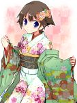 1girl alternate_costume blue_eyes brown_hair checkered checkered_background cowboy_shot flipped_hair floral_print flower hair_flower hair_ornament hiei_(kantai_collection) japanese_clothes kanoe_soushi kantai_collection kimono looking_at_viewer short_hair smile solo standing twitter_username unmoving_pattern white_kimono