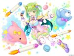 1girl ;d afterburner animal_ears bag bangs black_wings blunt_bangs blush boot_bow boots bow bowtie breasts capelet chenowa_(monmusume-harem) cleavage company_name crayon cross-laced_clothes dress eyebrows_visible_through_hair food full_body green_dress green_eyes green_hair green_wings hair_ornament hairclip heart heart_print holding honeycomb_(pattern) knee_boots looking_at_viewer low_wings macaron medium_breasts medium_hair monmusume-harem monster_girl multicolored multicolored_clothes multicolored_dress namaru_(summer_dandy) official_art one_eye_closed one_side_up open_mouth outstretched_arm pink_dress pointing pom_pom_(clothes) print_capelet print_legwear purple_bow purple_footwear purple_neckwear shiny shiny_hair shiny_skin short_dress shoulder_bag smile solo star star_print stuffed_animal stuffed_dolphin stuffed_toy teddy_bear tentacle_hair thigh-highs v-shaped_eyes white_background white_legwear wings yellow_bow yellow_capelet