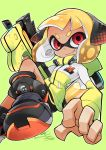 1girl bike_shorts black_footwear black_shorts closed_mouth dark_skin domino_mask eyebrows fewer_digits green_background headgear hero_shot_(splatoon_2) ink_tank_(splatoon) inkling io_naomichi jacket long_sleeves mask number orange_hair outline red_eyes shoes short_hair shorts smile sneakers solo splatoon splatoon_2 squidbeak_splatoon suction_cups tentacle_hair track_jacket v-shaped_eyebrows white_outline