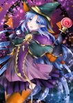 1girl :o akikame_reina alternate_costume assassin_(fate/stay_night) blue_eyes blue_hair blush candy capelet caster character_doll commentary_request cross cute dress fate/grand_order fate/stay_night fate_(series) food halloween_costume hat lollipop long_hair looking_at_viewer medea_(fate)_(all) orange_legwear pointy_ears purple_dress solo thigh-highs very_long_hair witch_hat