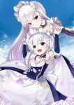 2girls :d apron armpits azur_lane bangs belfast_(azur_lane) blue_sky braid breasts chains cleavage collar collarbone commentary_request corset elbow_gloves eyebrows_visible_through_hair french_braid frilled_apron frilled_gloves frills gloves hand_holding hands_up interlocked_fingers large_breasts long_hair looking_at_viewer maid maid_apron maid_headdress metal_collar multiple_girls open_mouth outdoors petals round_teeth senbon_tsuki silver_hair sky sleeveless smile standing teeth violet_eyes waist_apron white white_apron white_gloves younger