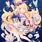 1girl :d bag blonde_hair blue_background blue_hat blush bow breasts bug butterfly constellation frills grey_bow handbag hat hat_ribbon insect open_mouth original planet rabbit ribbon salute sample skirt small_breasts smile standing star striped striped_ribbon violet_eyes wakanagi_eku white_skirt