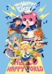 5girls :3 \o/ anchor_symbol animal_costume antenna_hair arms_up bang_dream! bangs bear_costume black_footwear blonde_hair blue_background blue_footwear blue_hair blue_neckwear blue_ribbon blue_shirt blue_shorts blue_skirt boombox boots bow bracelet closed_eyes commentary_request double-breasted drum drumsticks electric_guitar english grin group_name guitar hat hat_bow hat_ribbon hello_happy_world! holding holding_instrument instrument jewelry kitazawa_hagumi knee_boots kneehighs lightning_bolt looking_at_another loveariddle mascot_costume matsubara_kanon multiple_girls musical_note neckerchief nervous okusawa_misaki one_side_up open_mouth orange_eyes orange_hair outstretched_arms peaked_cap ponytail purple_hair ribbon sailor_hat school_uniform serafuku seta_kaoru shirt shoes short_hair short_sleeves shorts simple_background skirt smile sparkling_eyes standing straw_hat striped striped_bow striped_ribbon tsurumaki_kokoro violet_eyes white_footwear white_legwear white_shirt