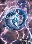 blue_eyes copyright_name dragon dragon_horns dragon_tail electricity fangs force_of_will glowing glowing_eyes horns ippei_soeda no_humans official_art open_mouth rain solo tail