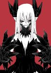 1girl black_sclera claws dragon_girl dress eyebrows_visible_through_hair greyscale hair_between_eyes hands_up highres horns juugoya_(zyugoya) long_hair looking_at_viewer monochrome monster_girl parted_lips pointy_ears red_background red_eyes scales sharp_teeth simple_background slit_pupils solo teeth v-shaped_eyebrows