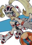 1girl :d bandaid bandaid_on_knee bare_arms bare_shoulders bending_forward bent_over bicycle_helmet bike_shorts black_shorts blonde_hair blue_eyes boots breasts dress facing_away fingerless_gloves from_side gloves gym_leader helmet high_ponytail io_naomichi koruni_(pokemon) legs_apart long_hair looking_at_viewer mega_stone open_mouth pleated_dress pokemon pokemon_(game) pokemon_xy ponytail roller_skates short_dress shorts skates sleeveless sleeveless_dress small_breasts smile solo teeth tongue white_dress white_footwear white_gloves white_helmet
