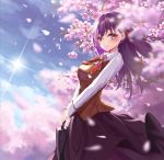 1girl augu_(523764197) blue_sky blurry blurry_background blurry_foreground blush breasts brown_vest cherry_blossoms collared_shirt day depth_of_field fate/stay_night fate_(series) flat_chest from_side hair_ribbon highres holding homurahara_academy_uniform lens_flare lips long_hair long_skirt long_sleeves looking_at_viewer looking_to_the_side matou_sakura medium_breasts neck_ribbon outdoors purple_hair purple_skirt red_neckwear red_ribbon revision ribbon school_briefcase shiny shiny_hair shirt skirt sky solo straight_hair sun sunlight two-handed vest violet_eyes white_shirt wing_collar
